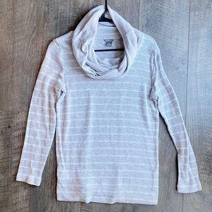 Eddie Bauer Grey Striped Cowl Neck Sweater